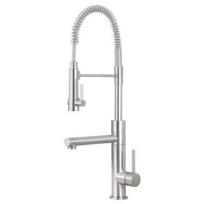 Premium Single-Handle Pull-Down Sprayer Kitchen Faucet in Satin Nickel with Potfiller