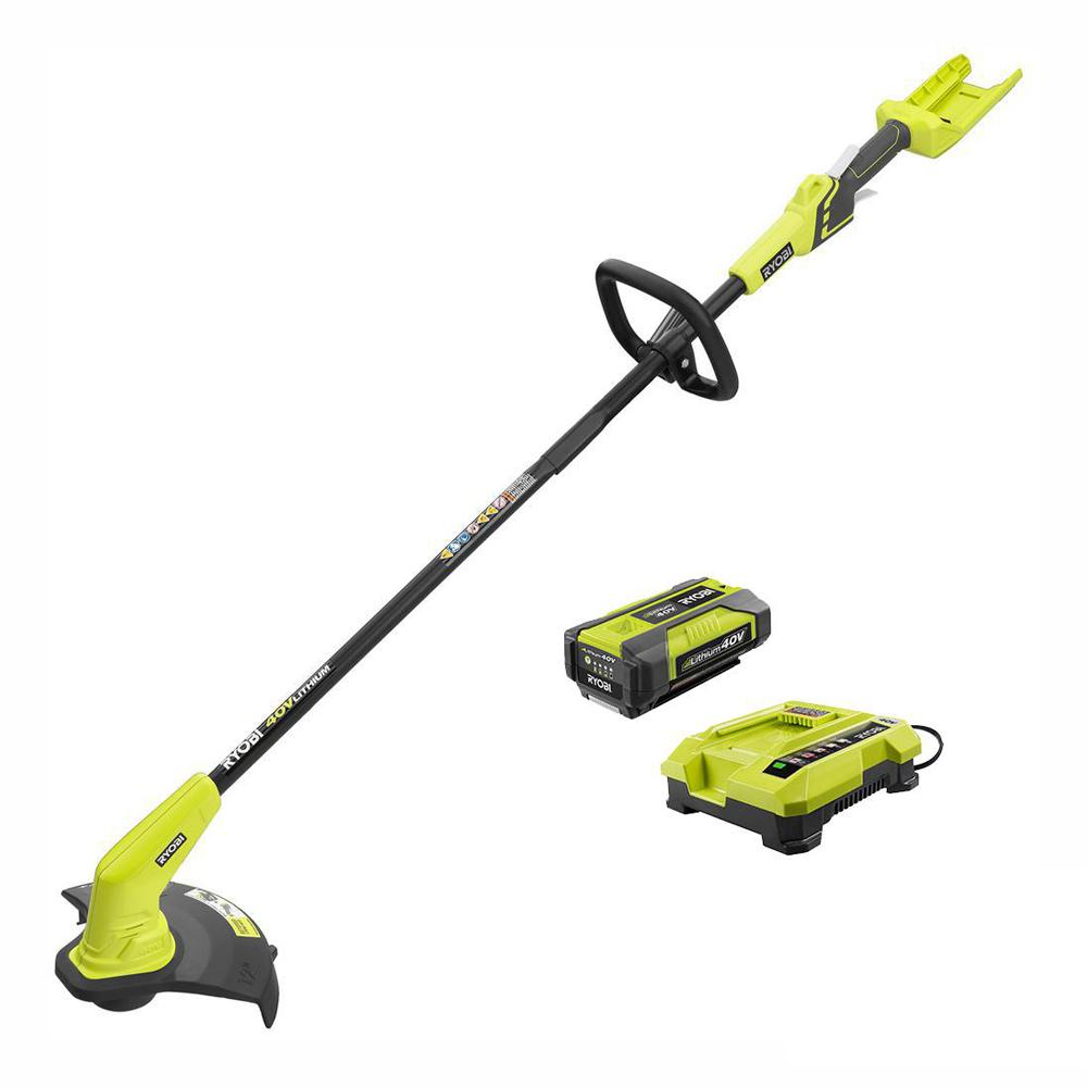 RYOBI 40-Volt Lithium-Ion Cordless String Trimmer - 1.5 Ah Battery and Charger Included