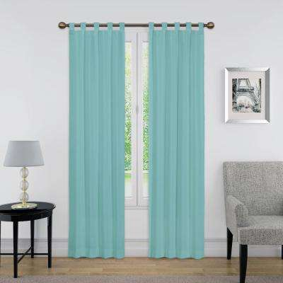 84 in. L Light Filtering Aegean Poly/Cotton Tab Top Curtain Panel (1-Pair)