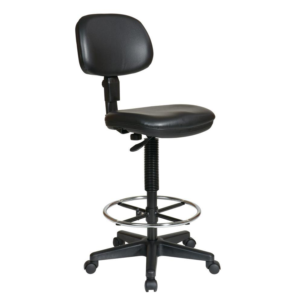 Work Smart Black Vinyl Drafting Chair  sc 1 st  Home Depot : chairs for work - Cheerinfomania.Com