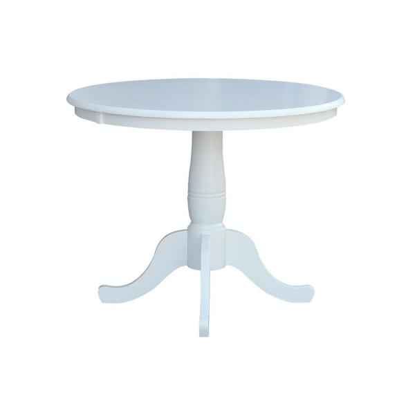International Concepts Pure White Round Pedestal Dining Table K08 36rt The Home Depot