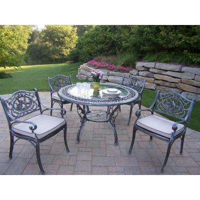 Mississippi Tea Rose 5 Piece Aluminum Outdoor Dining Set With Oatmeal Cushions