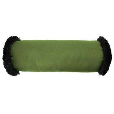 Sunbrella 7 in. x 20 in. Canvas Gingko Bolster Outdoor Pillow with Black Fringe