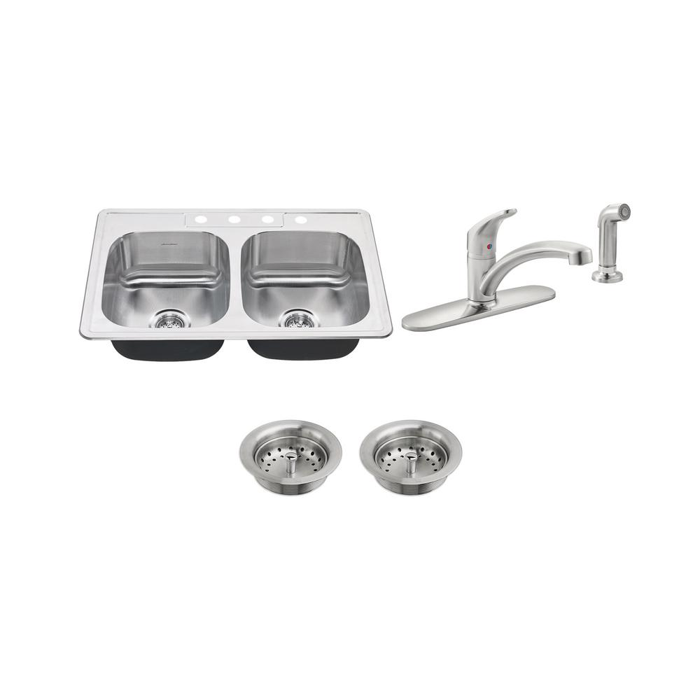 American Standard Colony All-in-One Drop-In Stainless Steel 33 in. 4 ...