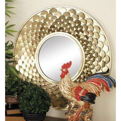 32 in. Rustic Gold-Finished Scale Pattern Framed Wall Mirror