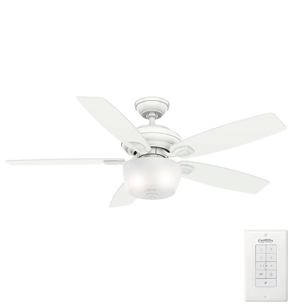 Casablanca Utopian 52 in. Indoor/Outdoor Classic White Ceiling Fan with 4-Speed Wall-Mount Control