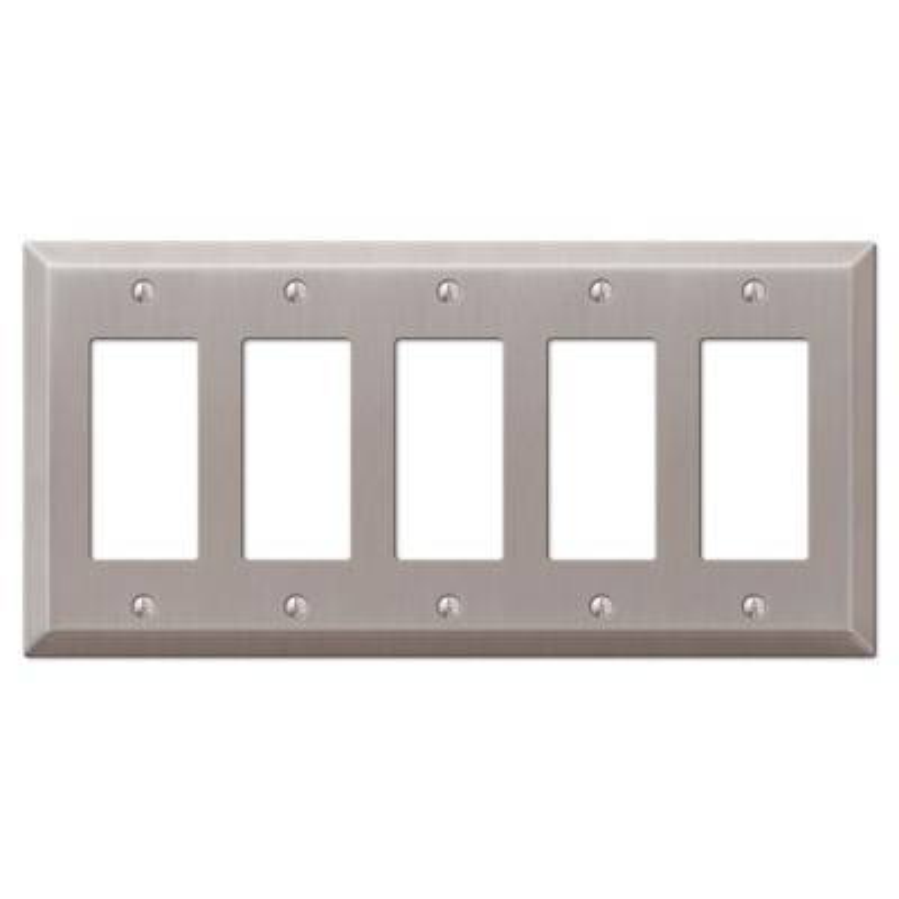 Metallic 5 Gang Rocker Steel Wall Plate - Brushed Nickel