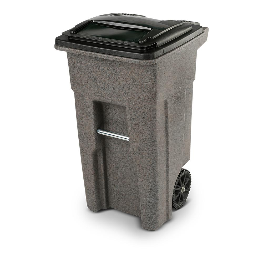 Toter Toter 32 Gal. Greystone Trash Can with Wheels and Attached Lid, Gray