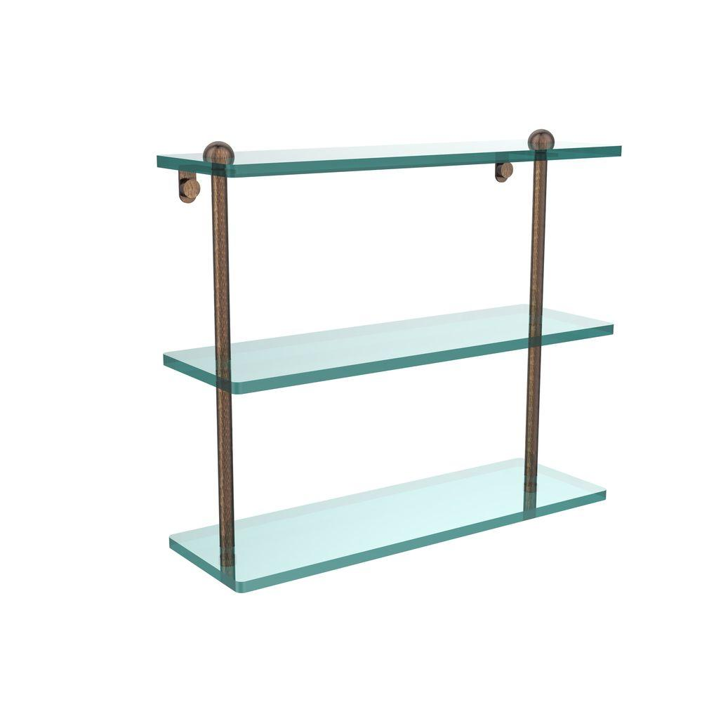 Allied Brass 16 in. L x 15 in. H x 5 in. W 3-Tier Clear Glass ...