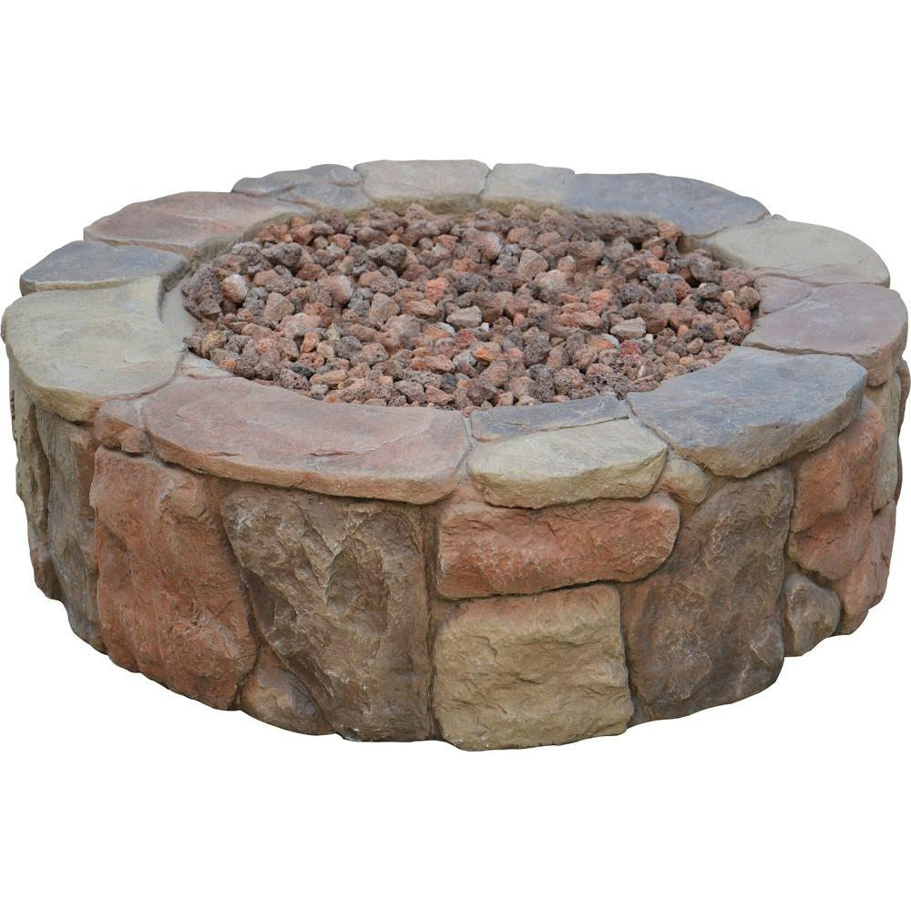 Round Envirostone Propane Fire Pit 66600BOND   The Home Depot