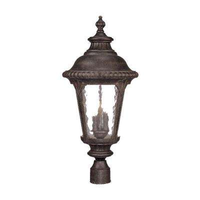 Surrey Collection 3-Light Black Coral Outdoor Post Light Fixture