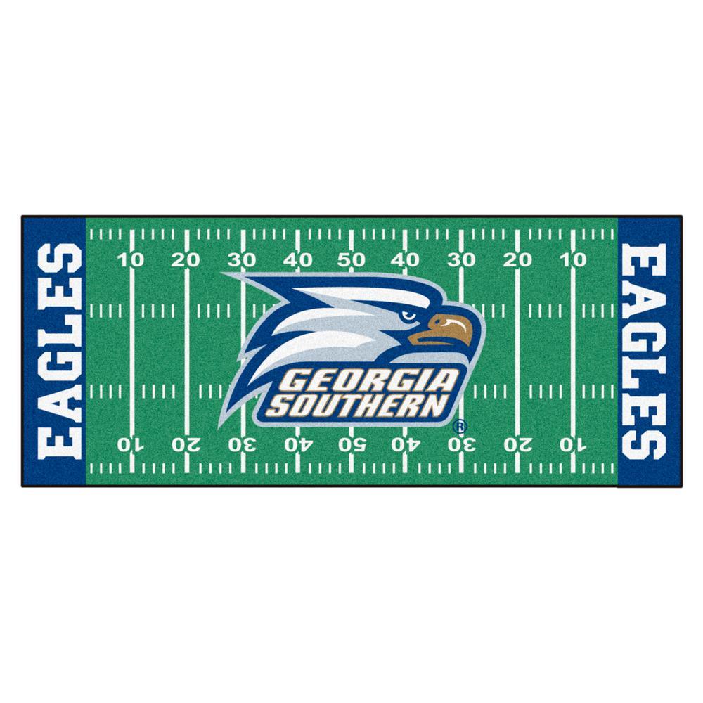 NCAA - Georgia Southern University Green 3 ft. x 6 ft. Indoor Football Field Runner Rug