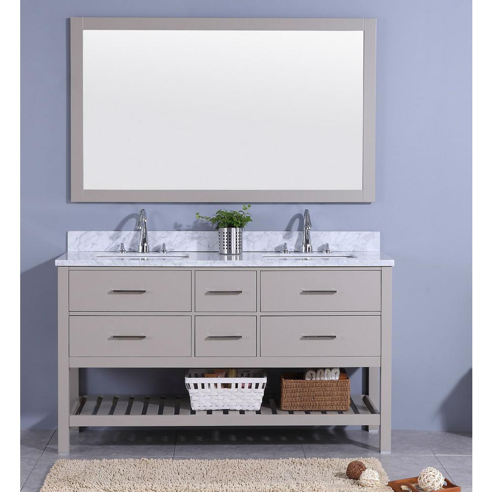 61 in. W x 22 in. D Vanity in Gray with