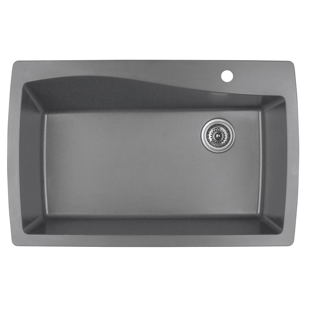 Drop-In Quartz Composite 34 in. 1-Hole Single Bowl Kitchen Sink in Grey
