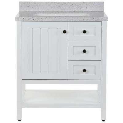 Lanceton 31 in. W x 22 in. D Bath Vanity in White with Solid Surface Vanity Top in Silver Ash with White Sink