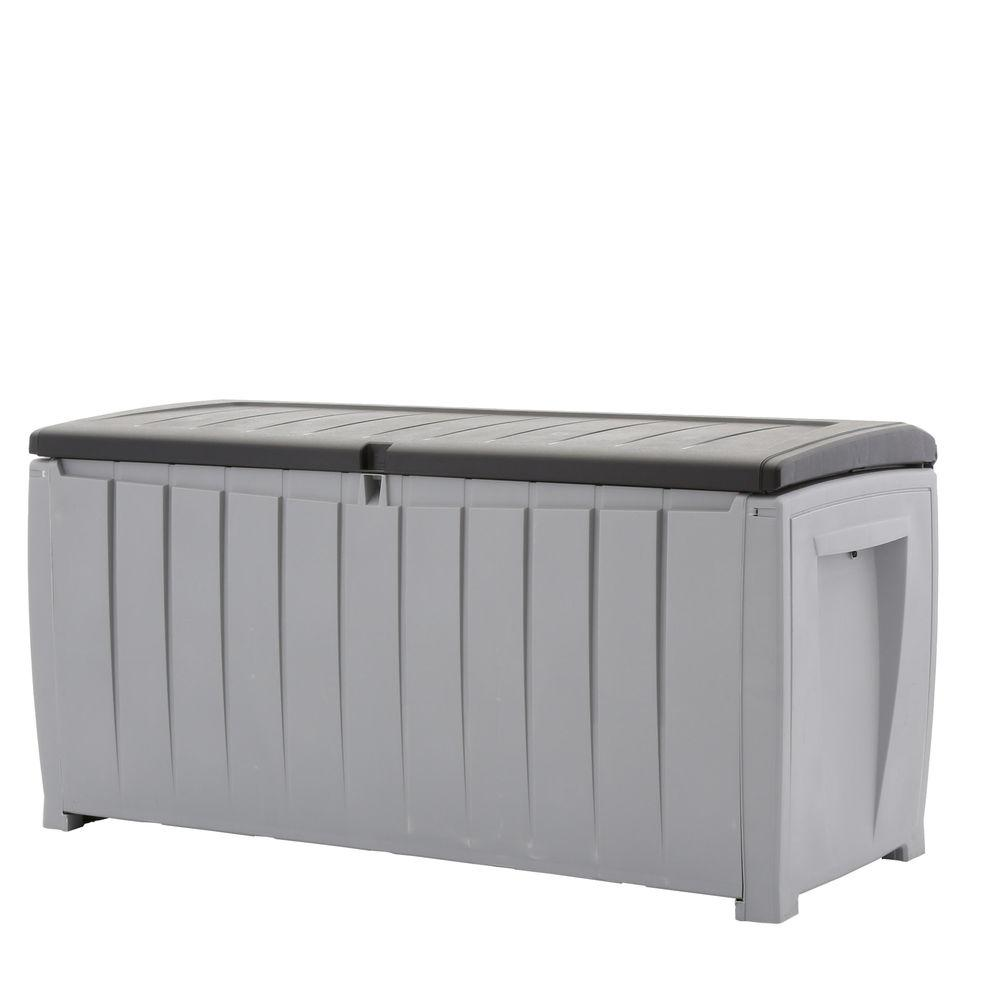 Keter Keter Novel 90 Gal. Deck Box in Black and Gray, Gray and Black