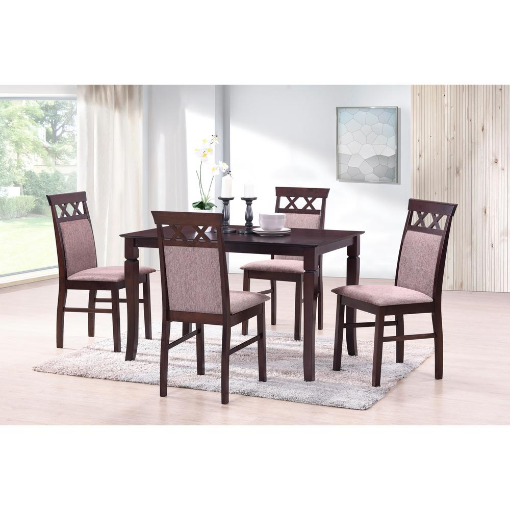 Burgundy Dining Room: Harper & Bright Designs Burgundy Rectangle Solid Wood 5