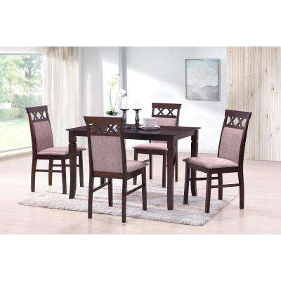 Burgundy Rectangle Solid Wood 5-Piece Dining Set