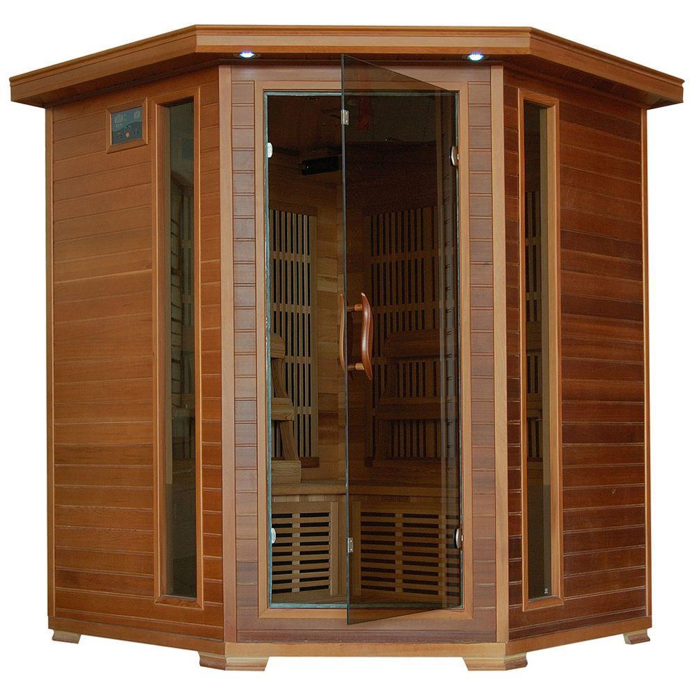 4-Person Cedar Corner Infrared Sauna with 10 Carbon Heaters