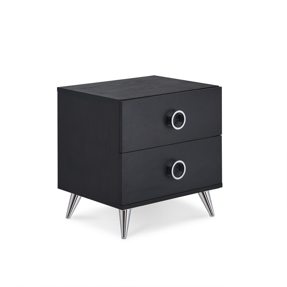 Merveilleux ACME Furniture Elms 2 Drawer Black Nightstand