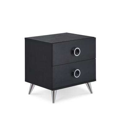 Elms 2-Drawer Black Nightstand