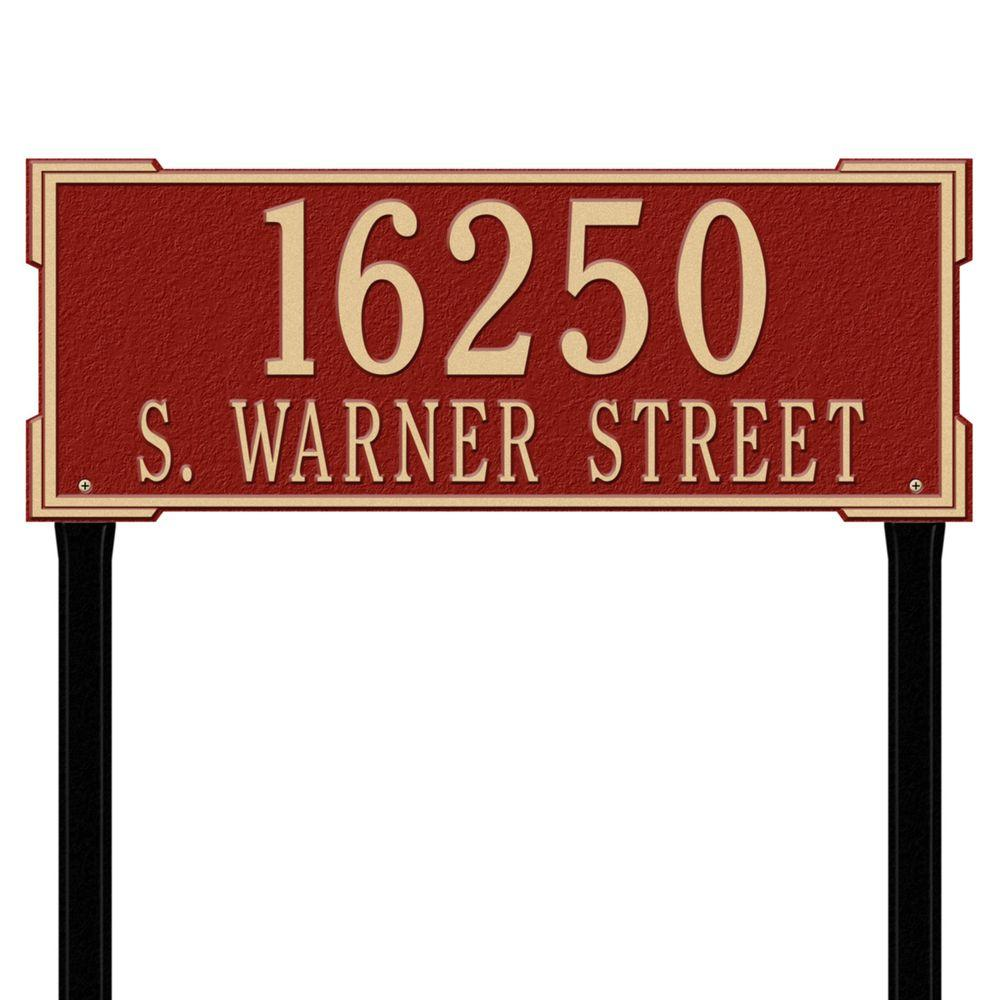 Whitehall Products Rectangular Roanoke Estate Lawn 2-Line Address Plaque - Red/Gold