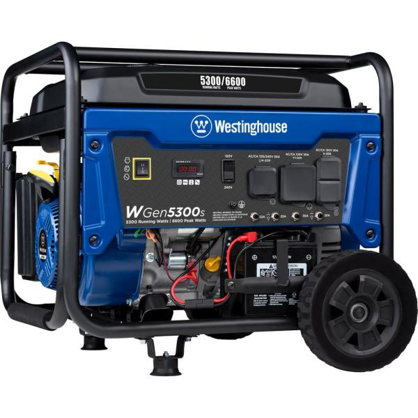 WGen5300s 6,600/5,300 Watt Gas Powered Portable Generator with Electric Start and Transfer Switch Outlet for Home Backup