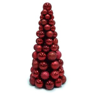 18 in. Shatterproof Ornament Cone Tree in Red