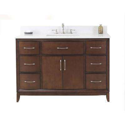 Vanity In Antique Coffee With Quartz Vanity Top In White With White Basin