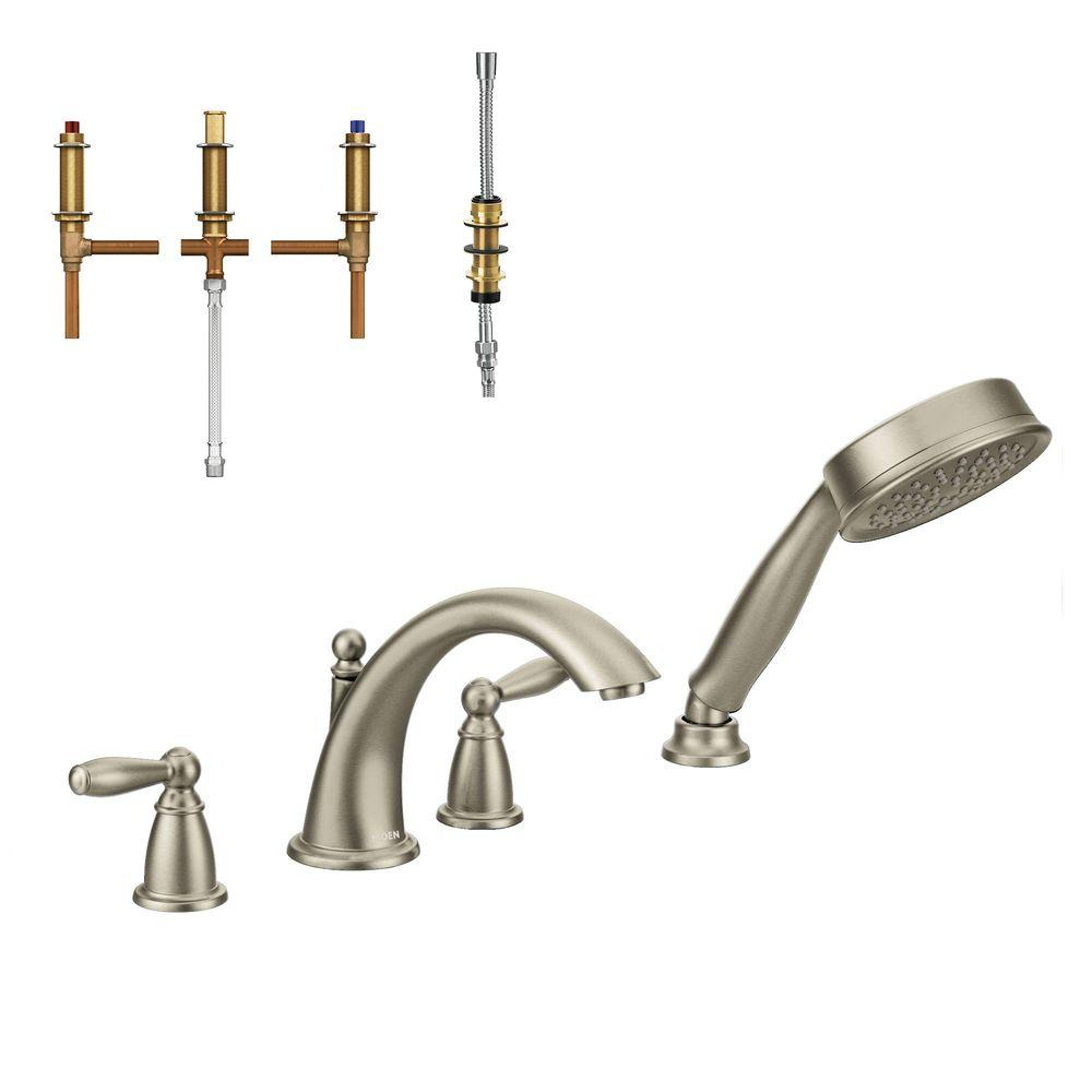 Brantford 2-Handle Deck-Mount Roman Tub Faucet Trim Kit with Handshower and