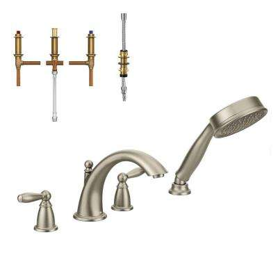 Brantford 2-Handle Deck-Mount Roman Tub Faucet Trim Kit with Handshower and Valve in Brushed Nickel