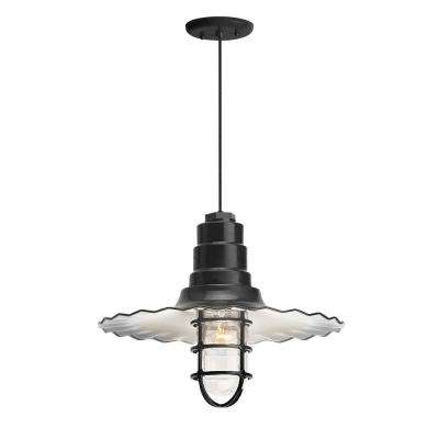 Radial Wave 18 in. Shade 1-Light Black Finish Pendant