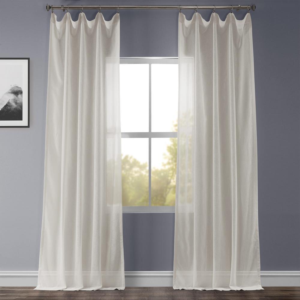 Gardenia Beige Faux Linen Sheer Curtain - 50 in. W x 120 in. L