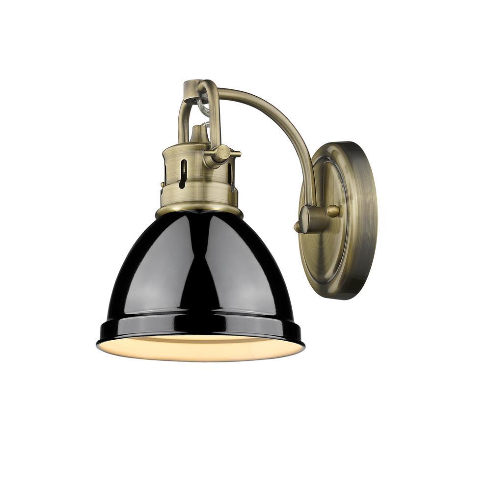 Duncan AB 1-Light Aged Brass Bath Light with Black Shade