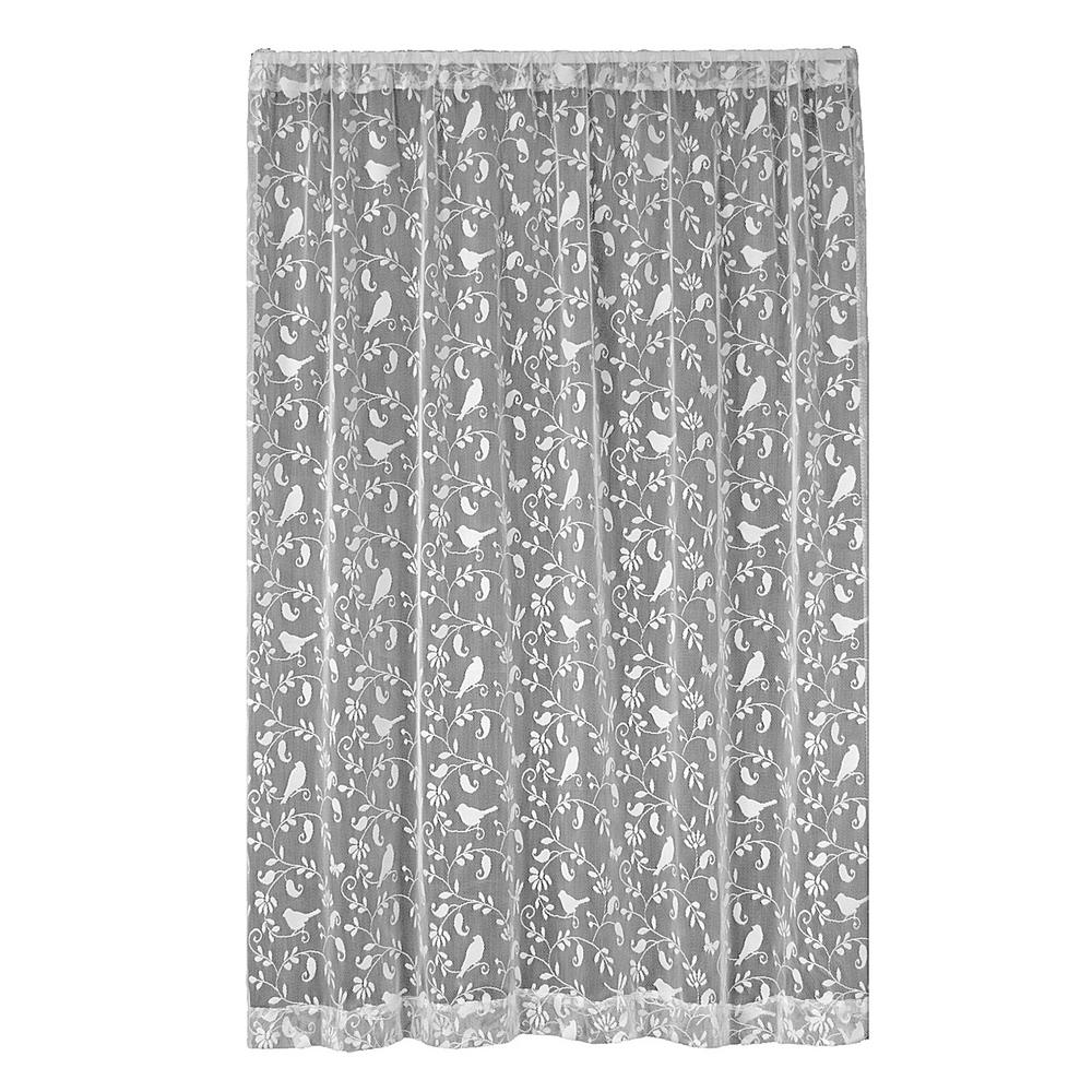 Heritage Lace Bristol Garden White Lace Curtain 60 in. W x 63 in. L