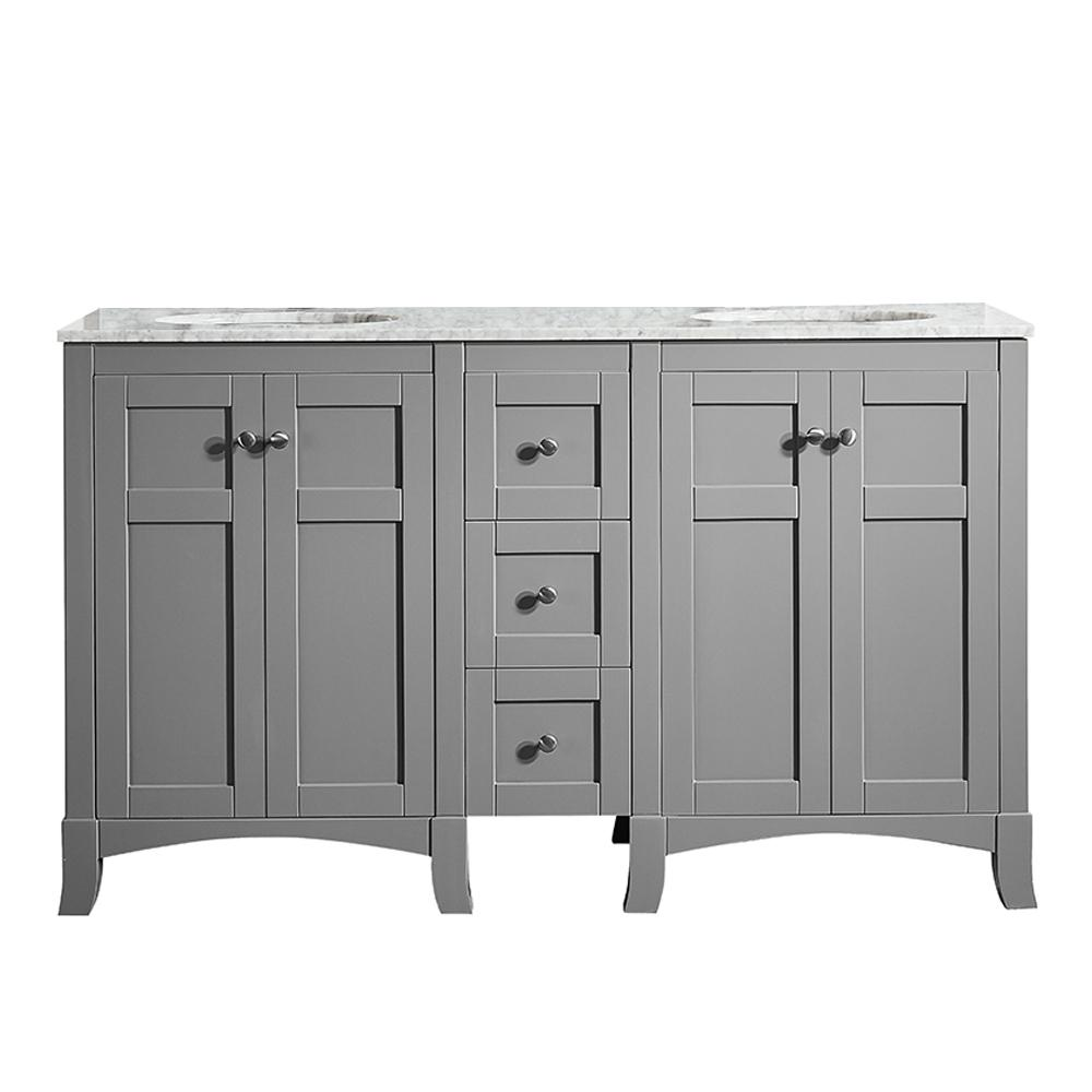 Home Decorators Collection Lawrence 60 in. W Vanity in Weathered Grey with Marble Vanity Top in ...