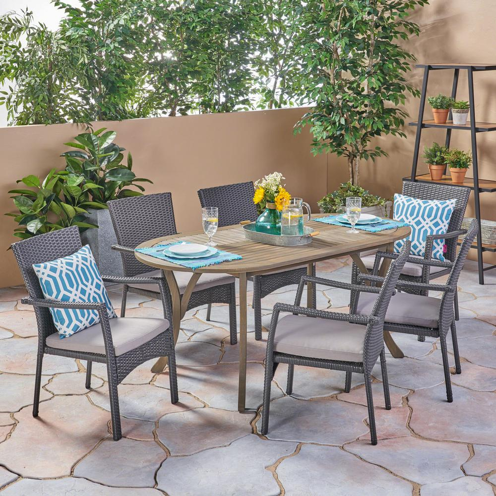 Noble House Landon Gray 7-Piece Wood And Wicker Outdoor