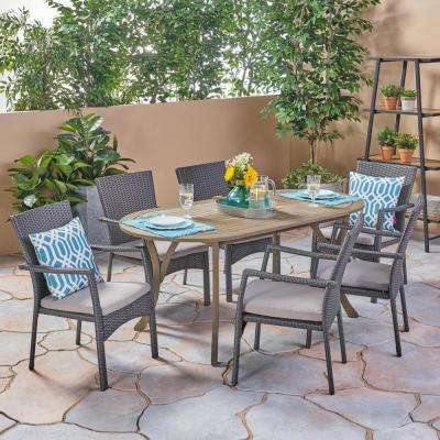 Landon Gray 7-Piece Wood and Wicker Outdoor Dining Set with Gray Cushions