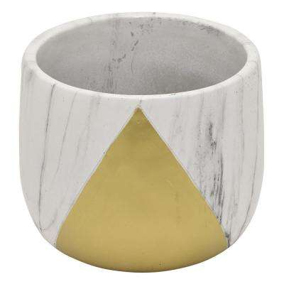 6 in. Flower Pot Marble Look Gold