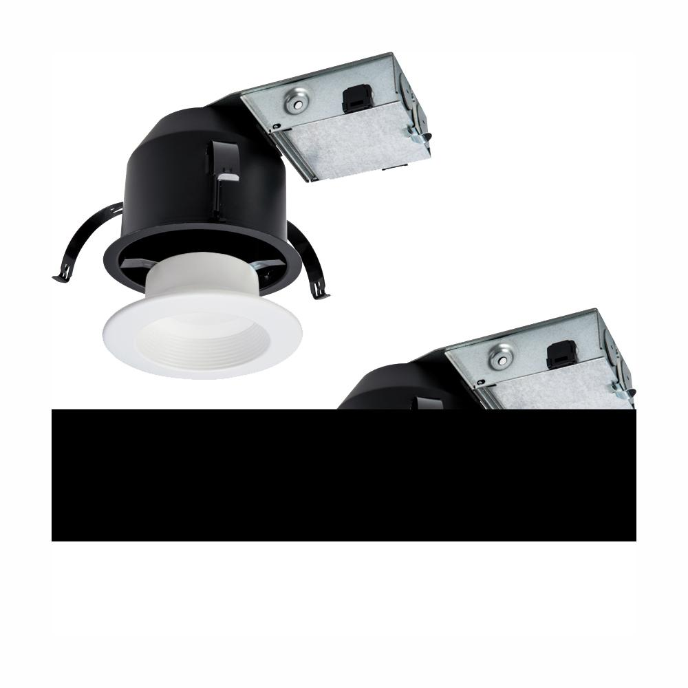 Halo RL 4 in. Ultra Shallow Remodel Ceiling Housing and Dimmable White Integrated LED Recessed Light Kit, T24 Rated (2-Pack)