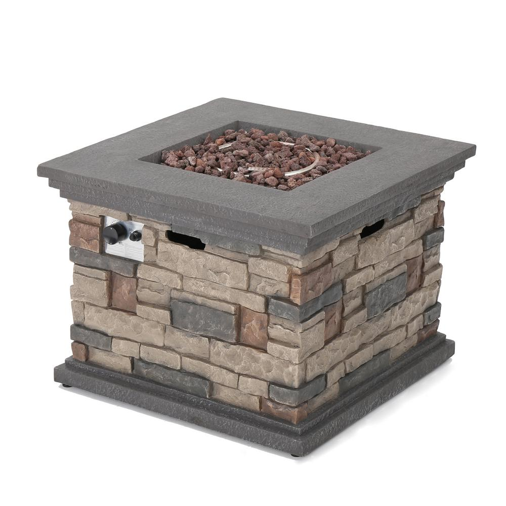 Noble House Chesney 32 in. x 24 in. Stone Square Outdoor Gas Fire Pit