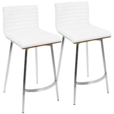 Mason 26 in. White Faux Leather Counter Stool (Set of 2)