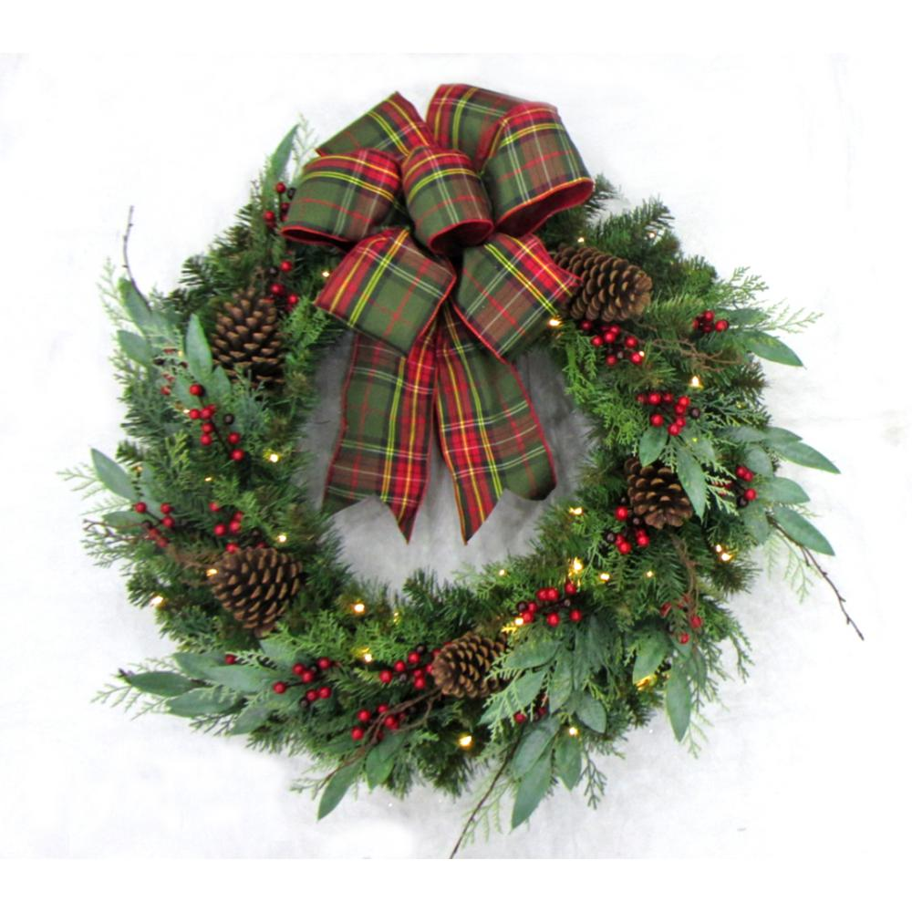 Pre Lit Woodmoore Tales Artificial Christmas Wreath With Plaid Ribbon 50 Battery Operated Warm White Led