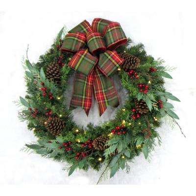 pre lit woodmoore tales artificial christmas wreath with plaid ribbon 50