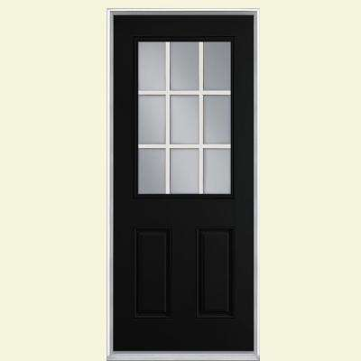 36 in. x 80 in. 9 Lite Jet Black Right-Hand Inswing Painted Smooth Fiberglass Prehung Front Door with No Brickmold