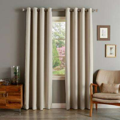 52 in. W x 84 in. L Flame Retardant Blackout Curtain Panel Set in Biscuit