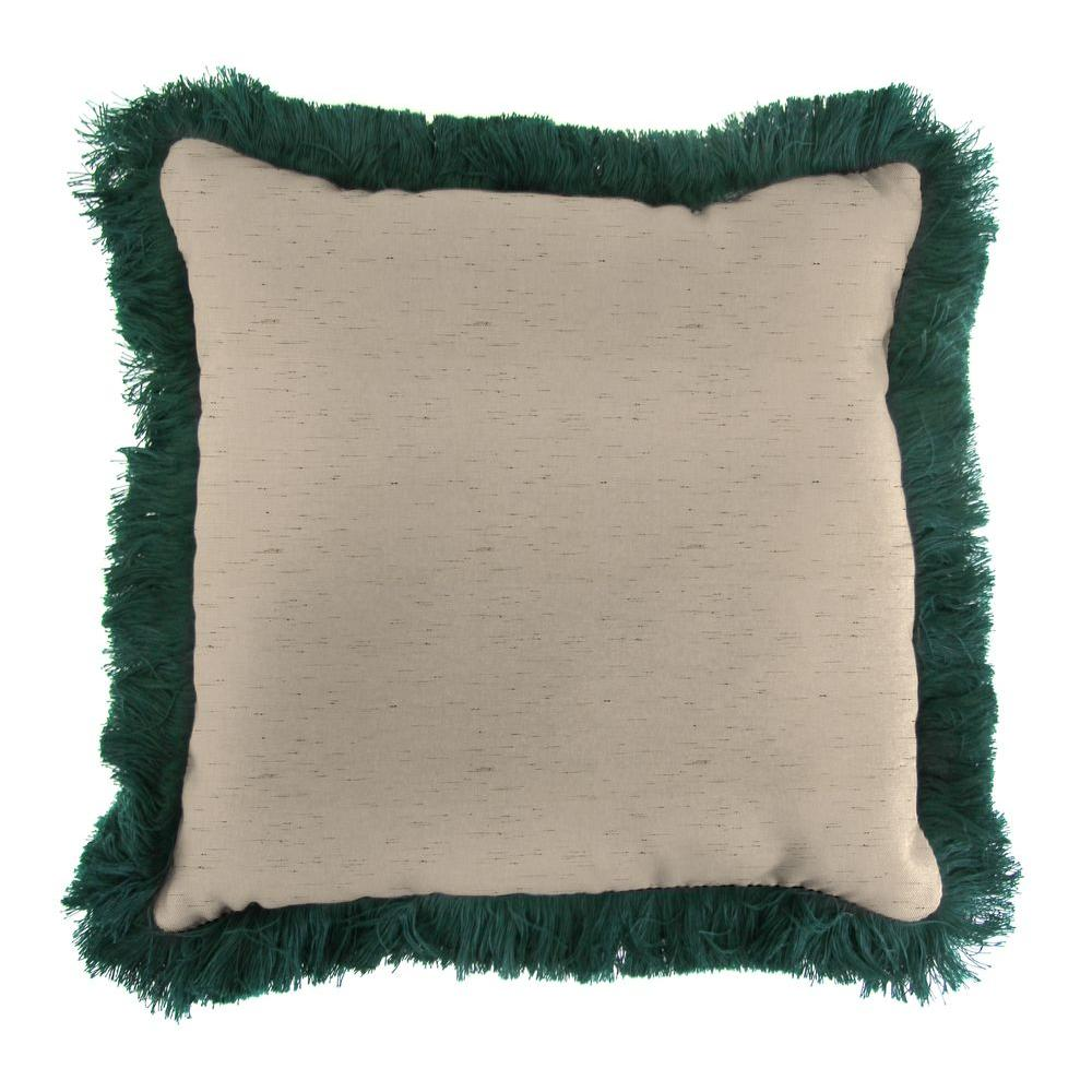 Sunbrella Frequency Sand Square Outdoor Throw Pillow with Forest Green Fringe