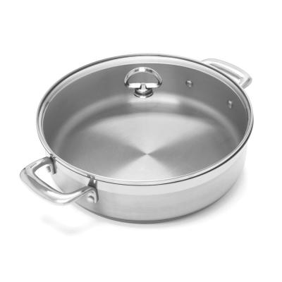 Induction 21 Steel 5 qt. Stainless Steel Saute Pan in Brushed Stainless Steel with Glass Lid