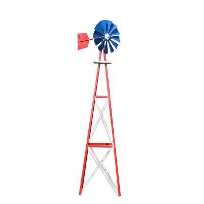 138 in. Large Red, White, and Blue Powder Coated Backyard Windmill
