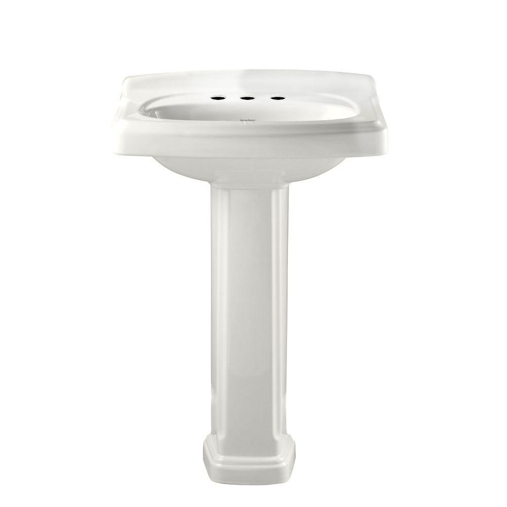 American Standard Portsmouth Vitreous China Pedestal Combo Bathroom Sink In White 0555 401 020 The Home Depot